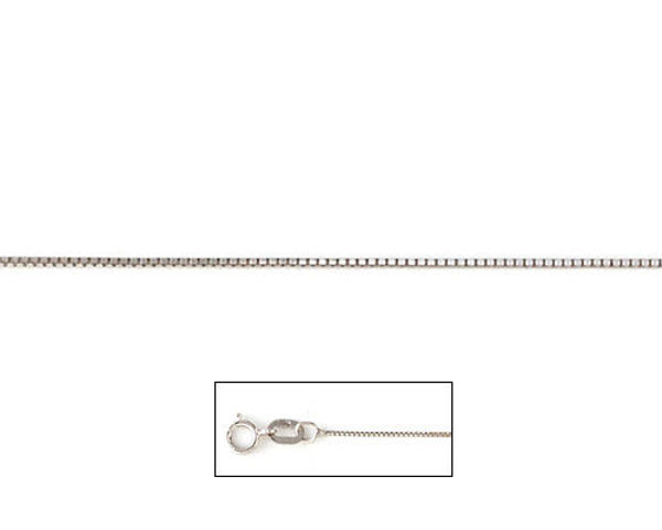 """Picture of 14kt White Gold 16"""" Baby Box Chain"""