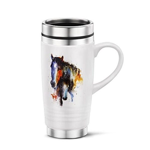 Picture of Big Sky Carvers a Mother'S Love Mare and Foal Travel Mug, Multicolored