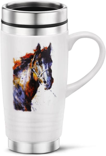 Picture of Big Sky Carvers Poncho Horse Travel Mug, Multicolored