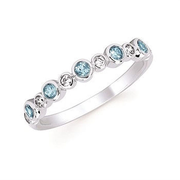 Picture of Diamond And Blue Topaz Fashion Ring