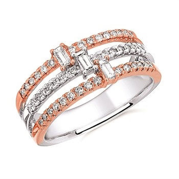 Picture of Diamond Baguette And Round Fashion Ring