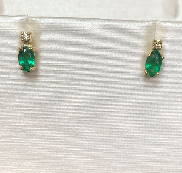 Picture of Emerald and Diamond Earrings