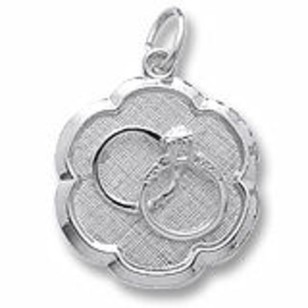 Picture of Wedding Rings Scalloped Disc Charm