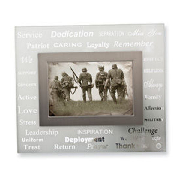 Picture of White Frosted Glass 4x6 Military Photo Frame