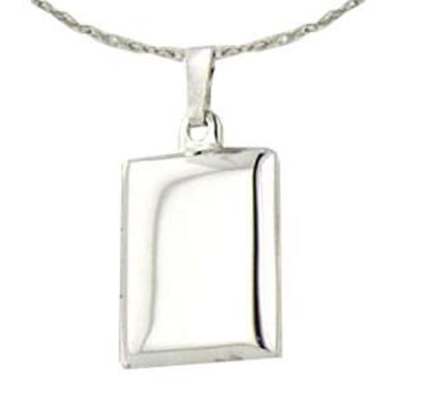 """Picture of STERLING SILVER POLISHED BOOK LOCKET, 1'' X 1/2"""" ON AN 18'' ROPE CHAIN"""