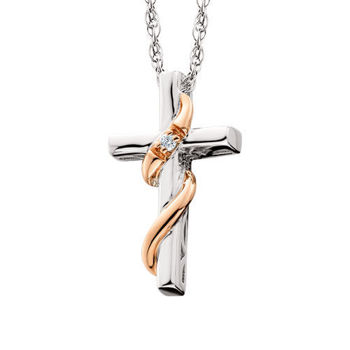 Picture of Petite Diamond Cross with Rose Gold Ribbon