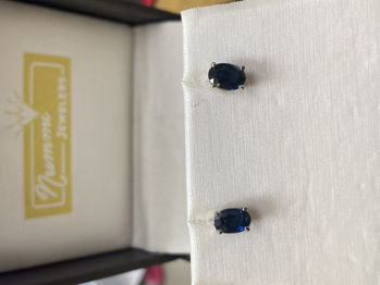 Picture of Blue Black Sapphire Earrings