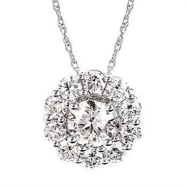 Picture of Eco-Brilliance® 1.50cttw Lab-Created Diamond Halo Necklace