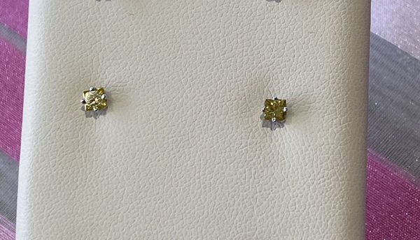 Picture of 1/3ct IRR. YELLOW PRINCESS DIAMOND EARRINGS