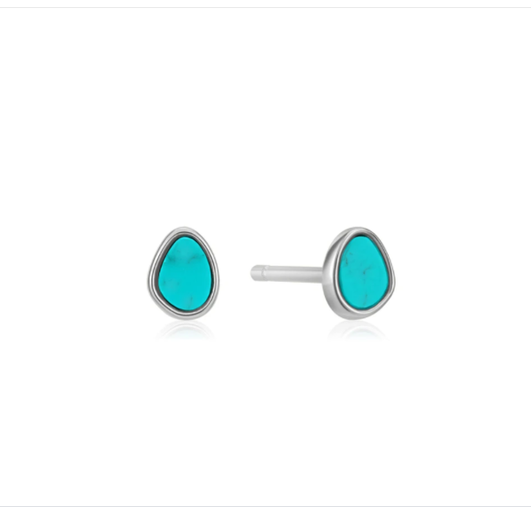 Picture of Silver Tidal Turquoise Stud Earrings