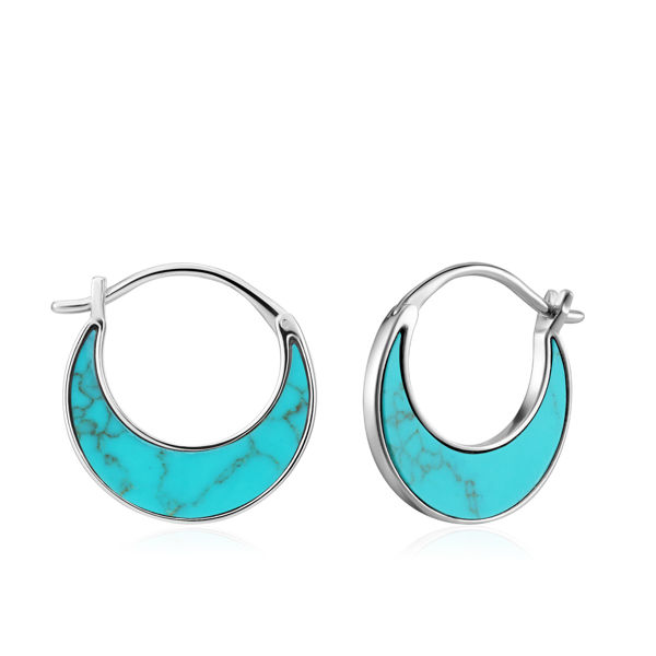 Picture of Silver Tidal Turquoise Crescent Earrings