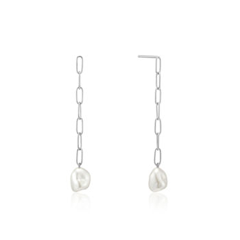 Picture of Silver Pearl Chunky Drop Earrings