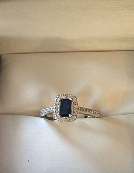 Picture of Sapphire and Diamond Halo Ring