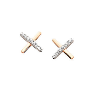 Picture of Criss Cross Rose Gold and Diamond Earrings