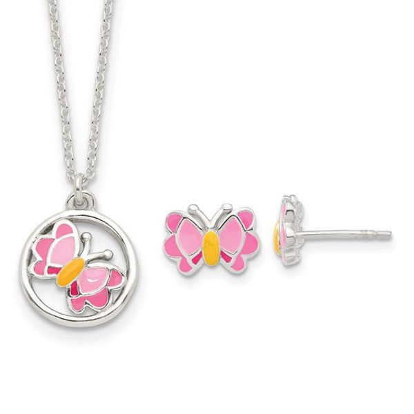 Picture of Childs Butterfly Earrings and Necklace Set