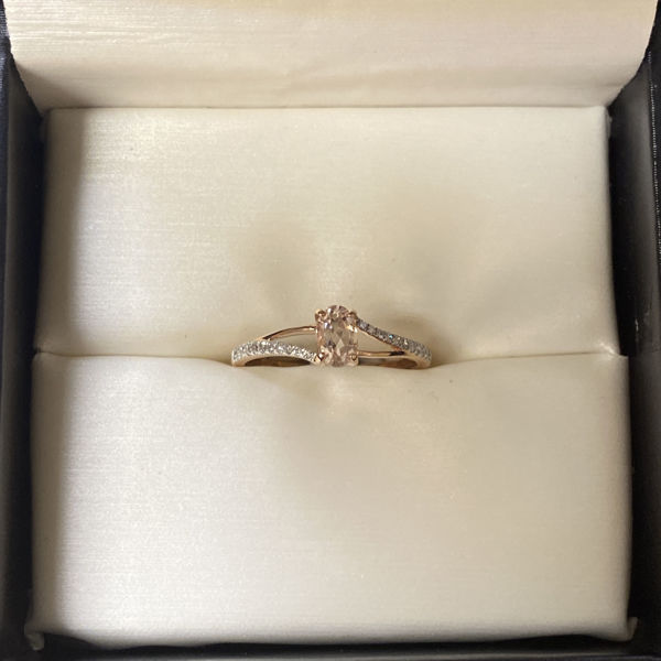 Picture of Dainty Morganite and Diamond Fashion Ring