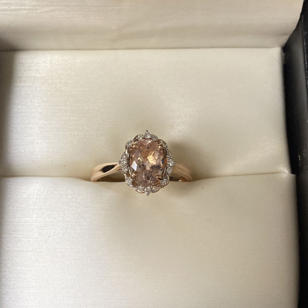 Picture of Vintage Inspired Halo Morganite and Diamond Ring
