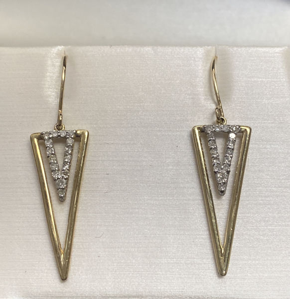 Picture of Striking Gold and Diamond Earrings