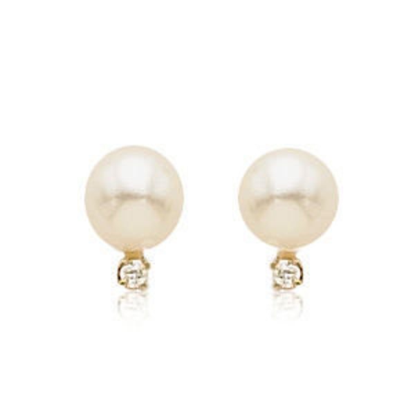 Picture of Dainty Pearl and Diamond Earrings
