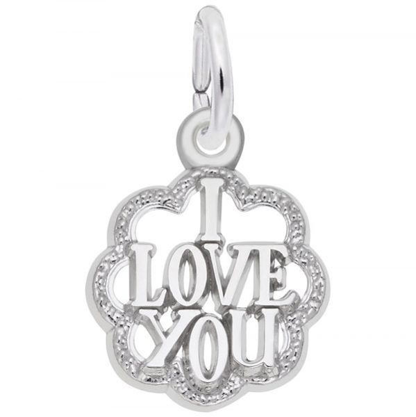 Picture of I Love You with Scalloped Border Charm